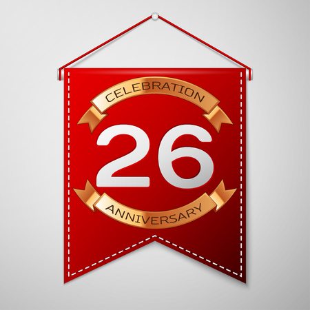 twenty six: Red pennant with inscription Twenty six Years Anniversary Celebration Design over a grey background. Golden ribbon. Colorful template elements for your birthday party. Vector illustration