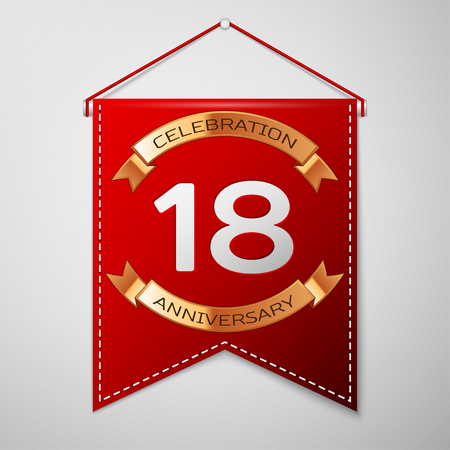 happy 18th birthday: Red pennant with inscription Eighteen Years Anniversary Celebration Design over a grey background. Golden ribbon. Colorful template elements for your birthday party. Vector illustration
