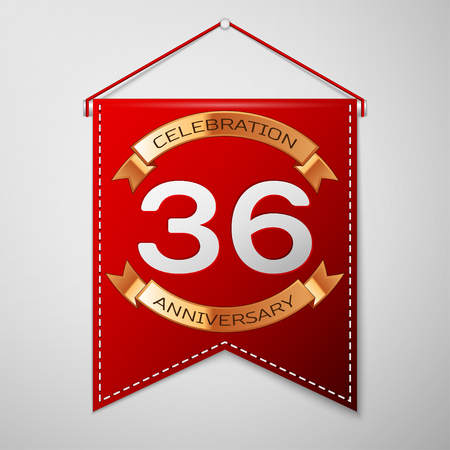 number 36: Red pennant with inscription Thirty six Years Anniversary Celebration Design over a grey background. Golden ribbon. Colorful template elements for your birthday party. Vector illustration Illustration