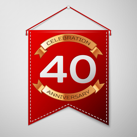 Red pennant with inscription Forty Years Anniversary Celebration Design over a grey background. Golden ribbon. Colorful template elements for your birthday party. Vector illustration