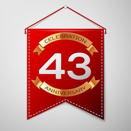 Red pennant with inscription Forty three Years Anniversary Celebration Design over a grey background. Golden ribbon. Colorful template elements for your birthday party. Vector illustration