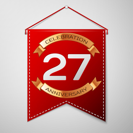 27: Red pennant with inscription Twenty seven Years Anniversary Celebration Design over a grey background. Golden ribbon. Colorful template elements for your birthday party. Vector illustration