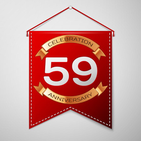 Red pennant with inscription Fifty nine Years Anniversary Celebration Design over a grey background. Golden ribbon. Colorful template elements for your birthday party. Vector illustration