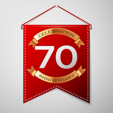 Red pennant with inscription Seventy Years Anniversary Celebration Design over a grey background. Golden ribbon. Colorful template elements for your birthday party. Vector illustration