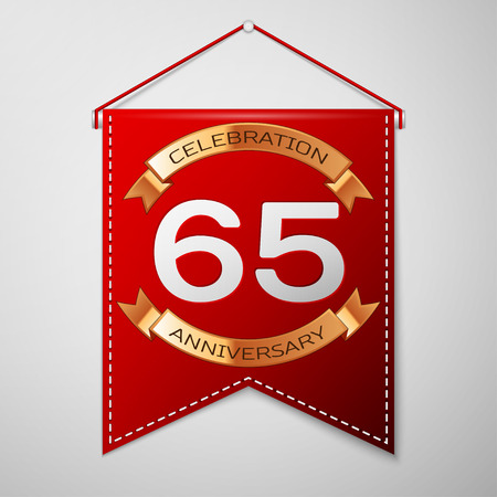 Red pennant with inscription Sixty five Years Anniversary Celebration Design over a grey background. Golden ribbon. Colorful template elements for your birthday party. Vector illustration Illustration