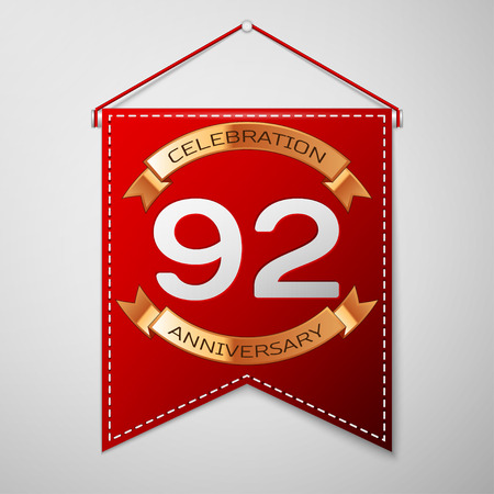 92: Red pennant with inscription Ninety two Years Anniversary Celebration Design over a grey background. Golden ribbon. Colorful template elements for your birthday party. Vector illustration