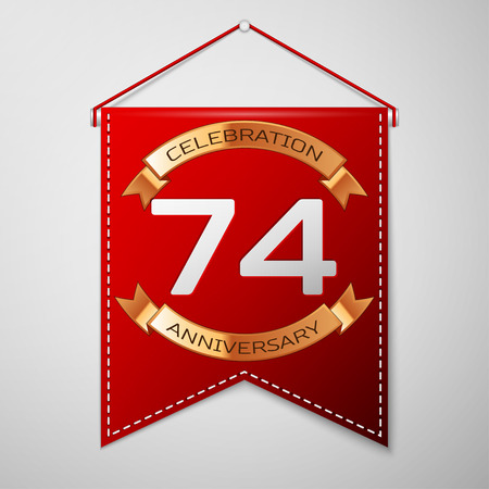 seventy: Red pennant with inscription Seventy four Years Anniversary Celebration Design over a grey background. Golden ribbon. Colorful template elements for your birthday party. Vector illustration