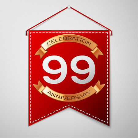 Red pennant with inscription Ninety nine Years Anniversary Celebration Design over a grey background. Golden ribbon. Colorful template elements for your birthday party. Vector illustration Illustration
