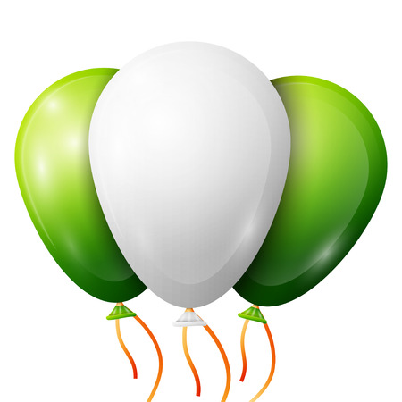 latex: Realistic green, white balloons with ribbons isolated on white background. Vector illustration of shiny colorful glossy balloons