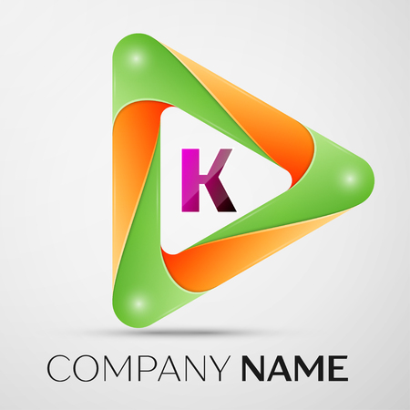 Letter K vector logo symbol in the colorful triangle on grey background. Vector template for your design
