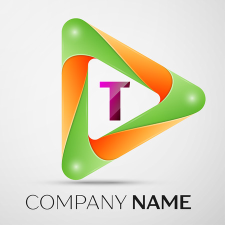 Letter T vector logo symbol in the colorful triangle on grey background. Vector template for your design