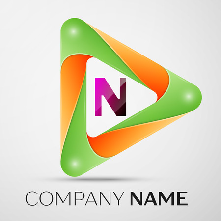 Letter N vector logo symbol in the colorful triangle on grey background. Vector template for your design