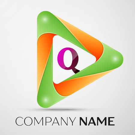 Letter Q vector logo symbol in the colorful triangle on grey background. Vector template for your design