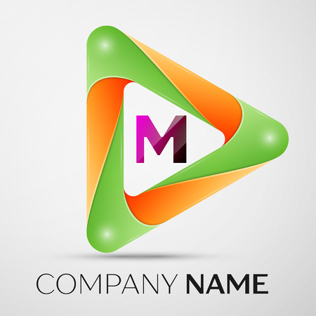 Letter M vector logo symbol in the colorful triangle on grey background. Vector template for your design