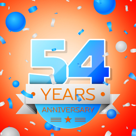 54: Fifty four years anniversary celebration on orange background. Anniversary ribbon Illustration