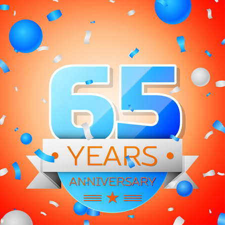 Sixty five years anniversary celebration on orange background. Anniversary ribbon Illustration