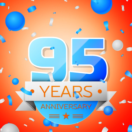 Ninety five years anniversary celebration on orange background. Anniversary ribbon