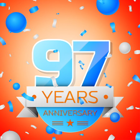 Ninety seven years anniversary celebration on orange background. Anniversary ribbon