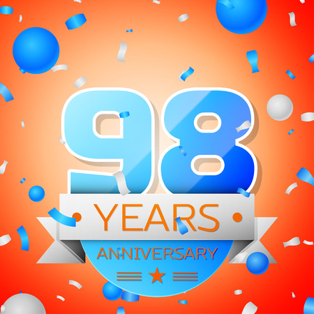Ninety eight years anniversary celebration on orange background. Anniversary ribbon