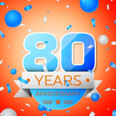 80th: Eighty years anniversary celebration on orange background. Anniversary ribbon Illustration