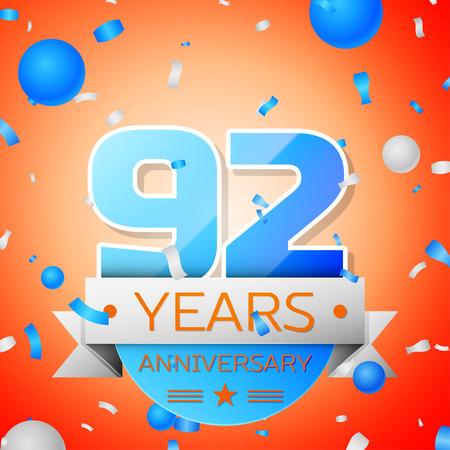 92: Ninety two years anniversary celebration on orange background. Anniversary ribbon
