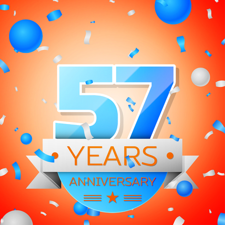 57: Fifty seven years anniversary celebration on orange background. Anniversary ribbon Illustration