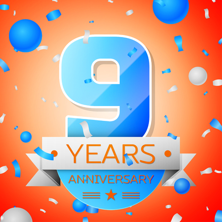 Nine years anniversary celebration on orange background. Anniversary ribbon Illustration