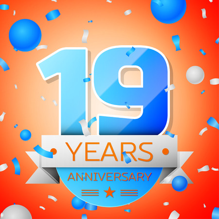 Nineteen years anniversary celebration on orange background. Anniversary ribbon