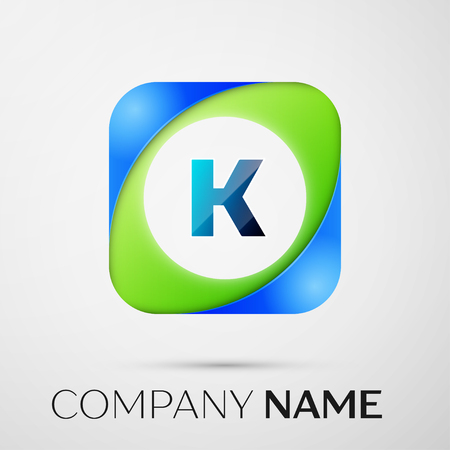 digital media: Letter K vector logo symbol in the colorful square on grey background. Vector template for your design