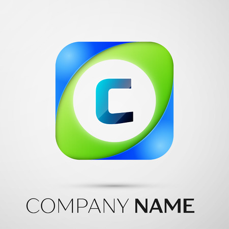 Letter C Vector Logo Symbol In The Colorful Square On Grey