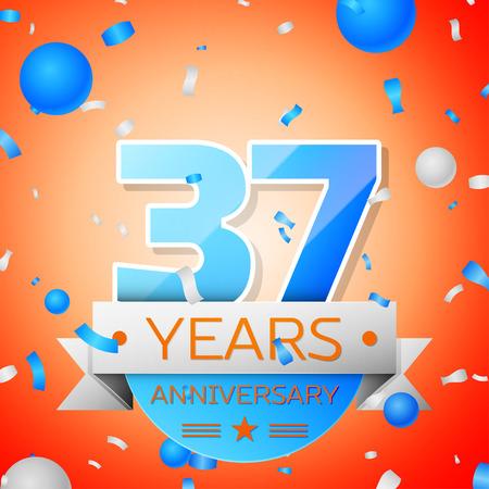 Thirty seven years anniversary celebration on orange background. Anniversary ribbon