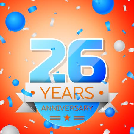 twenty six: Twenty six years anniversary celebration on orange background. Anniversary ribbon Illustration