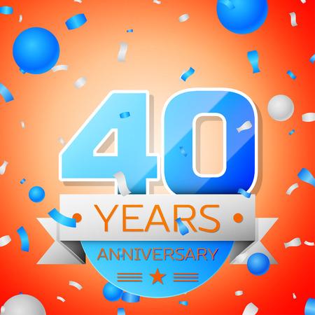 Forty years anniversary celebration on orange background. Anniversary ribbon