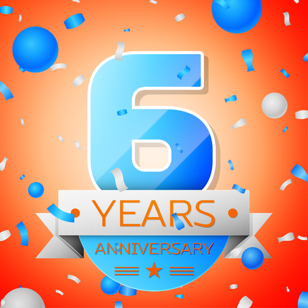 Six years anniversary celebration on orange background. Anniversary ribbon Illustration