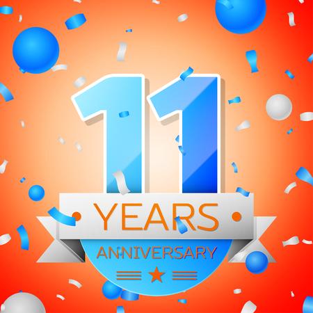 Eleven years anniversary celebration on orange background. Anniversary ribbon