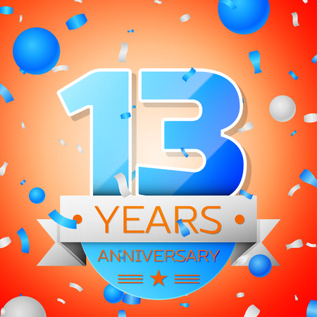 Thirteen years anniversary celebration on orange background. Anniversary ribbon Illustration