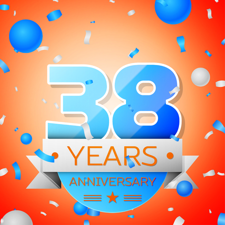Thirty eight years anniversary celebration on orange background. Anniversary ribbon Illustration