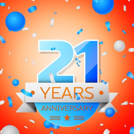 Twenty one years anniversary celebration on orange background. Anniversary ribbon Ilustração