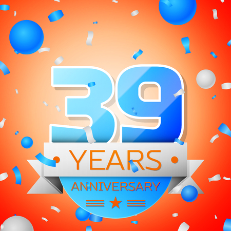 Thirty nine years anniversary celebration on orange background. Anniversary ribbon
