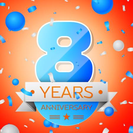 Eight years anniversary celebration on orange background. Anniversary ribbon Illustration
