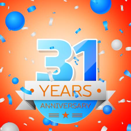 31th: Thirty one years anniversary celebration on orange background. Anniversary ribbon