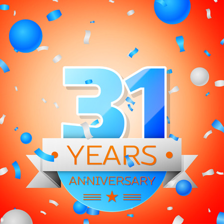 commercial event: Thirty one years anniversary celebration on orange background. Anniversary ribbon