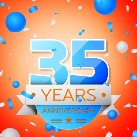 Thirty five years anniversary celebration on orange background. Anniversary ribbon Illustration