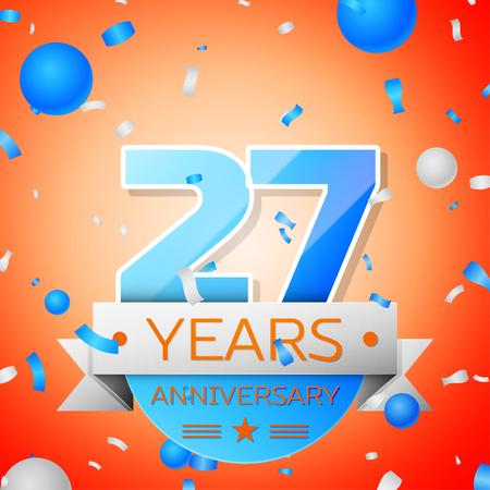27: Twenty seven years anniversary celebration on orange background. Anniversary ribbon