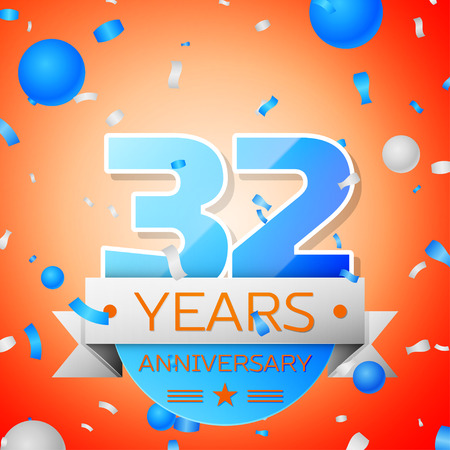 two years: Thirty two years anniversary celebration on orange background. Anniversary ribbon