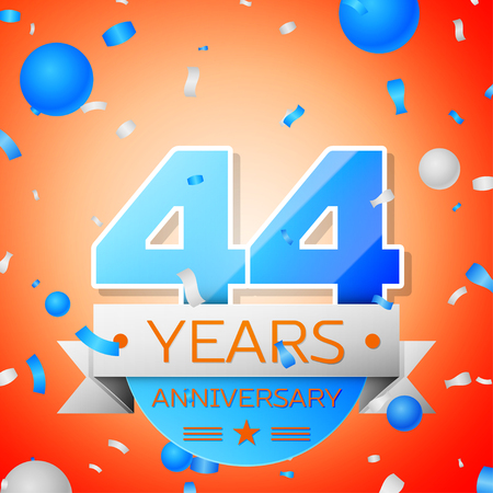 Forty four years anniversary celebration on orange background. Anniversary ribbon