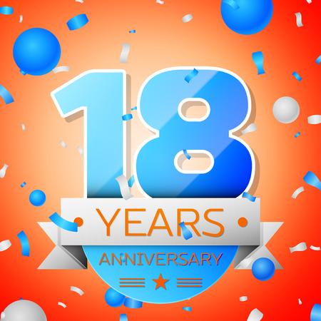 happy 18th birthday: Eighteen years anniversary celebration on orange background. Anniversary ribbon