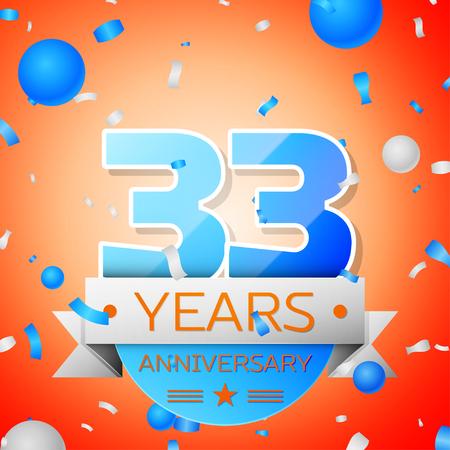 Thirty three years anniversary celebration on orange background. Anniversary ribbon
