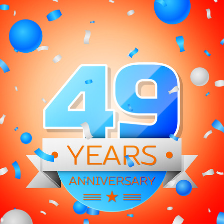 Forty nine years anniversary celebration on orange background. Anniversary ribbon Illustration
