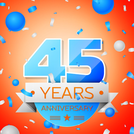 Forty five years anniversary celebration on orange background. Anniversary ribbon